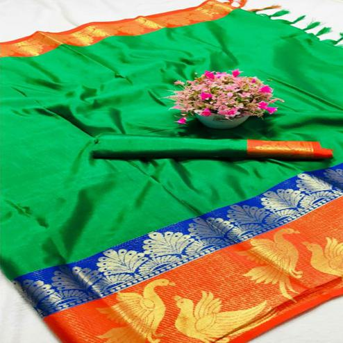 Lovely Green - Red Colored Festive Wear Woven Pure Cotton Silk Saree