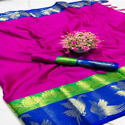 Majesty Pink - Blue Colored Festive Wear Woven Pure Cotton Silk Saree