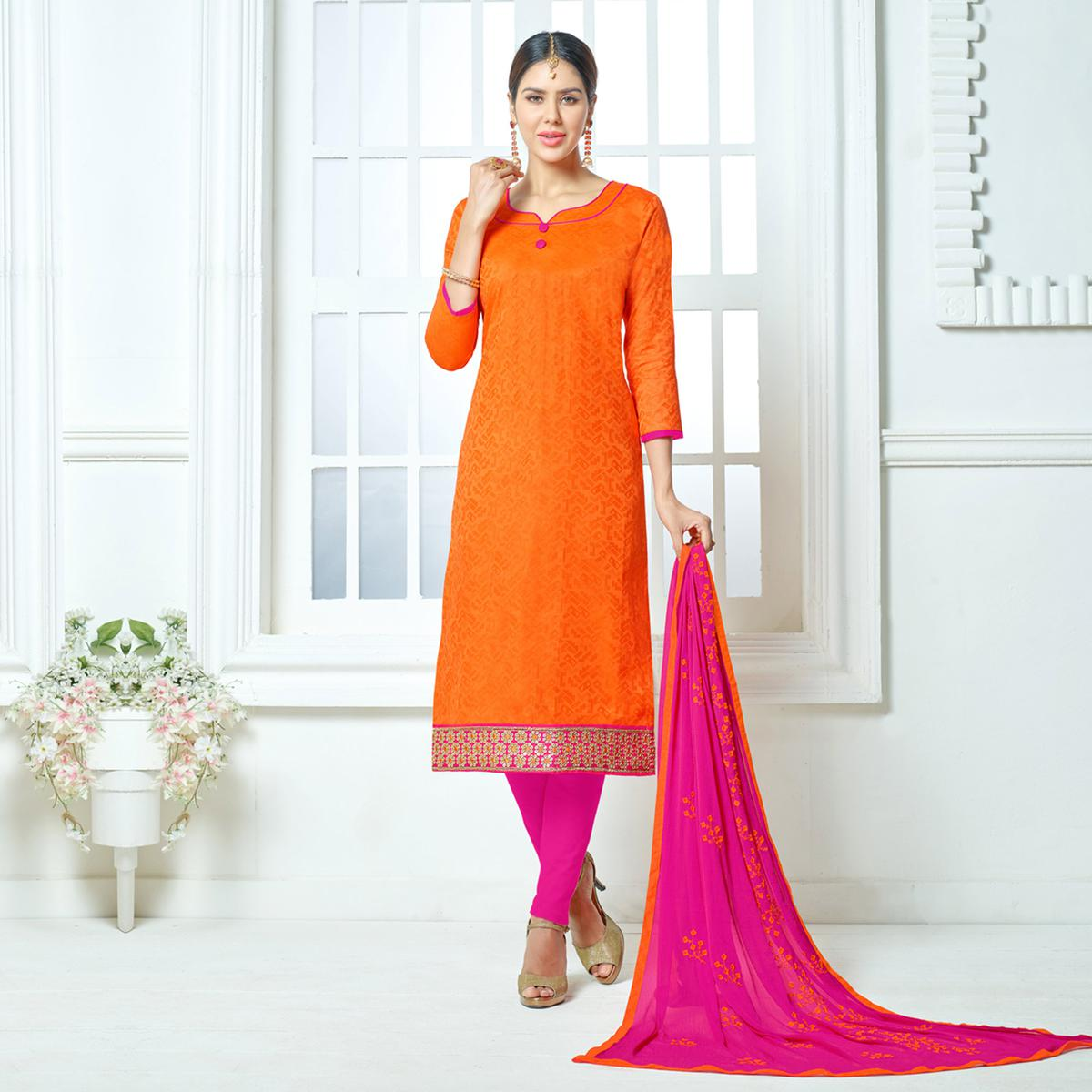 Orange-Pink Colored Embroidered Jacquard Dress Material