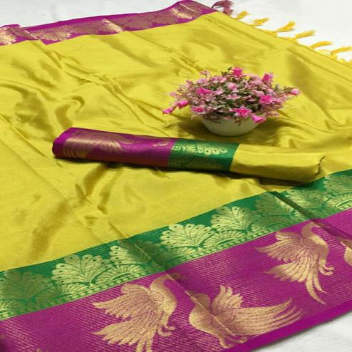 Mesmerising Yellow - Pink Colored Festive Wear Woven Pure Cotton Silk Saree