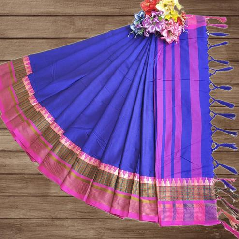 Amazing Blue Colored Festive Wear Woven Pure Cotton Silk Saree
