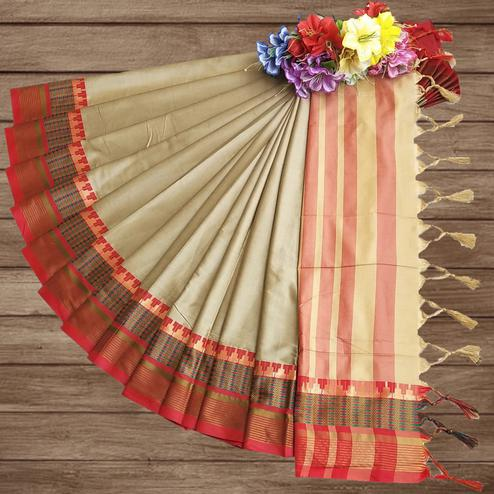 Gorgeous Cream Colored Festive Wear Woven Pure Cotton Silk Saree