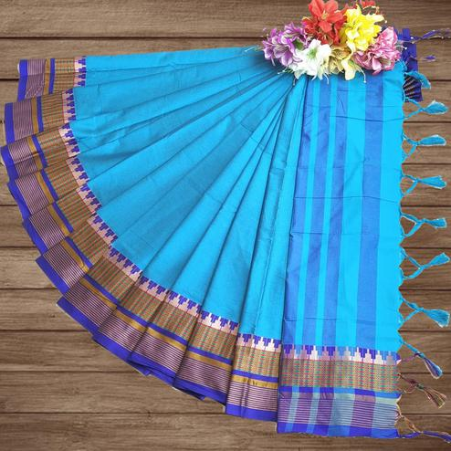 Blissful Sky Blue Colored Festive Wear Woven Pure Cotton Silk Saree