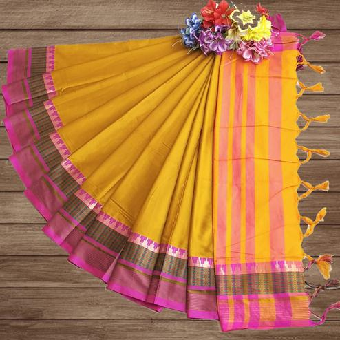 Ideal Yellow Colored Festive Wear Woven Pure Cotton Silk Saree