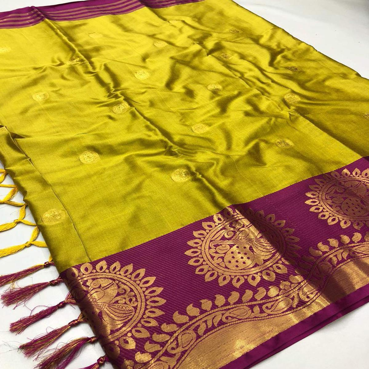 Eye-catching Yellow - Purple Colored Festive Wear Woven Pure Cotton Silk Saree