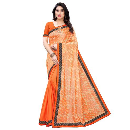 Innovative Orange Colored Partywear Printed Poly Silk Half - Half Saree