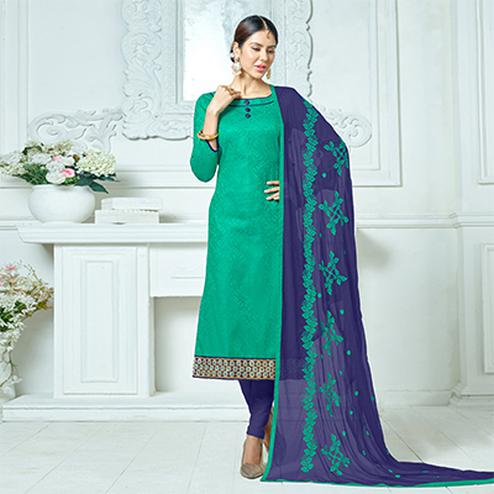 Green-Navy Blue Colored Embroidered Jacquard Dress Material