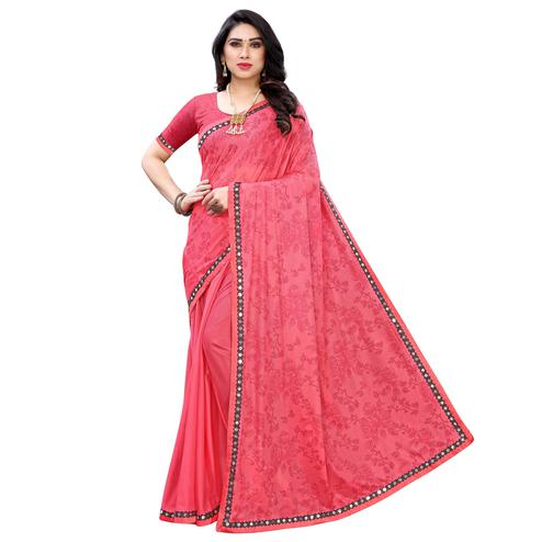 Captivating Pink Colored Partywear Printed Poly Silk Saree