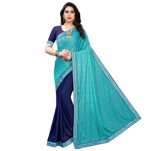 Beautiful Blue Colored Partywear Printed Poly Silk Half - Half Saree