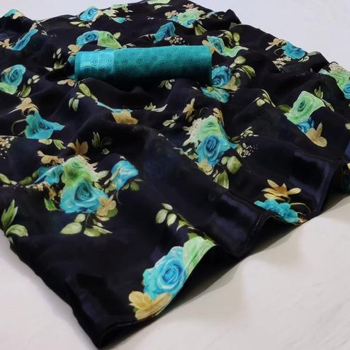Desirable Black Colored Casual Wear Floral Printed Linen Saree