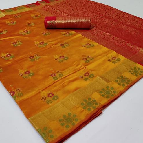 Elegant Yellow Colored Festive Wear Woven Silk Saree