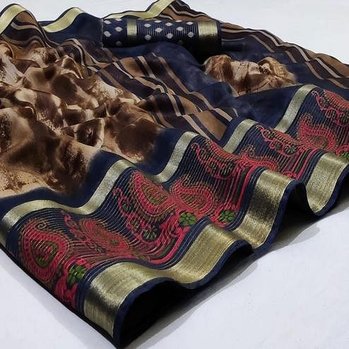 Radiant Brown Colored Casual Wear Printed Cotton Saree