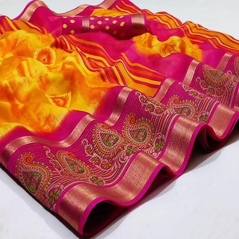 Pleasant Yellow Colored Casual Wear Printed Cotton Saree
