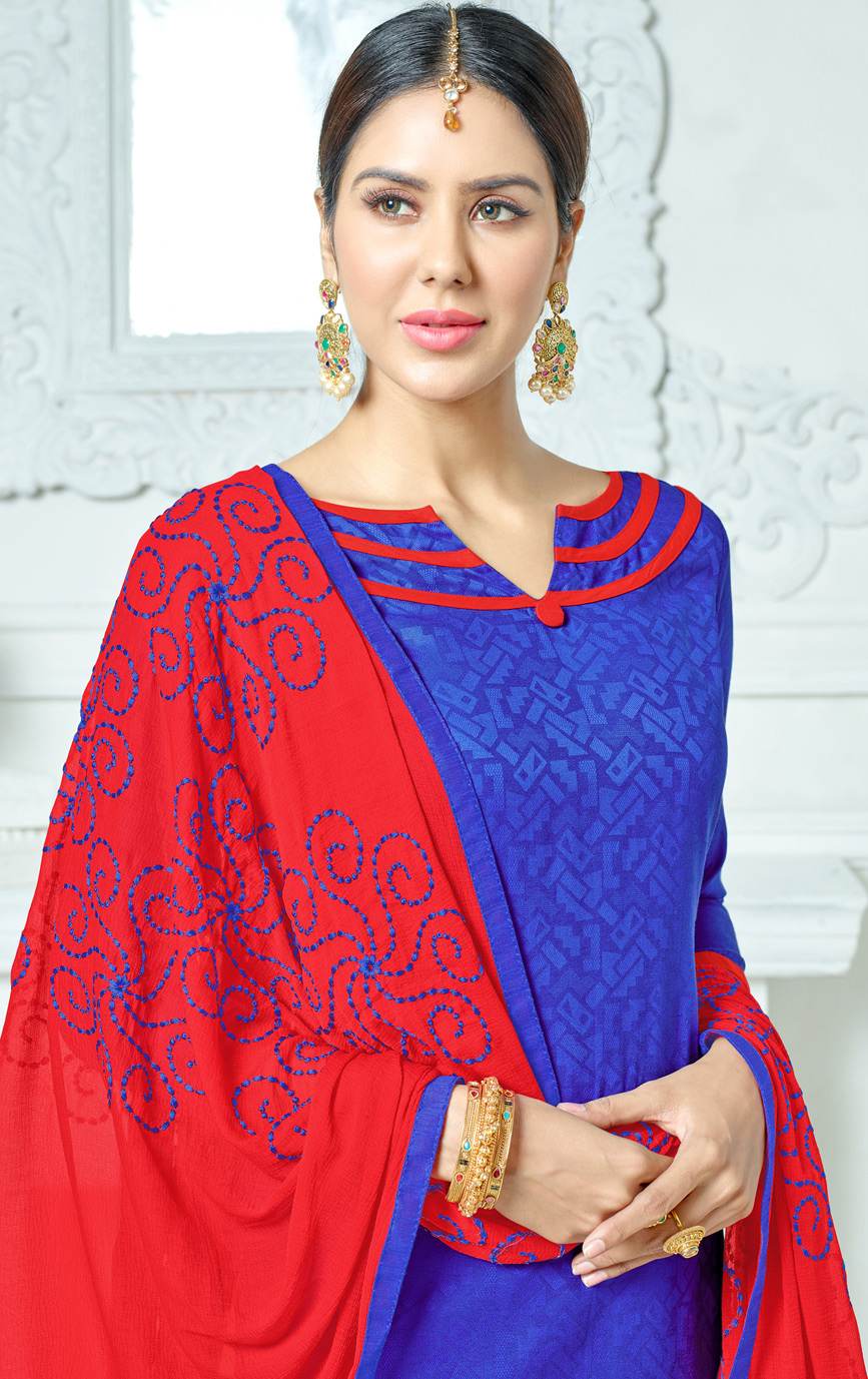 Blue-Red Colored Embroidered Jacquard Dress Material