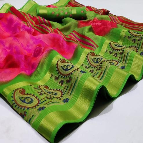 Opulent Pink Colored Casual Wear Printed Cotton Saree
