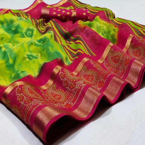 Energetic Green Colored Casual Wear Printed Cotton Saree