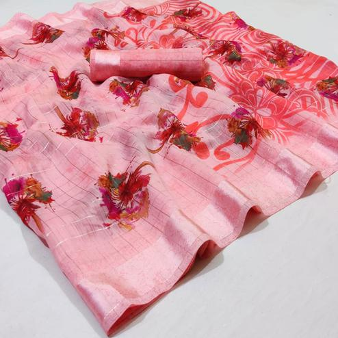 Unique Pink Colored Casual Wear Printed Linen Saree