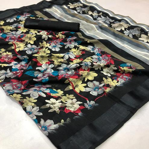 Flattering Black Colored Casual Wear Printed Linen Saree
