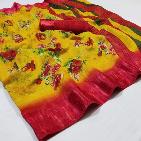 Excellent Yellow Colored Casual Wear Printed Linen Saree