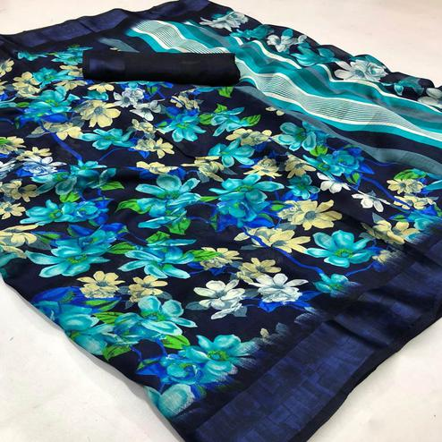 Preferable Navy Blue Colored Casual Wear Printed Linen Saree