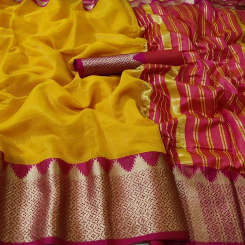 Marvellous Yellow Colored Festive Wear Printed Linen Saree
