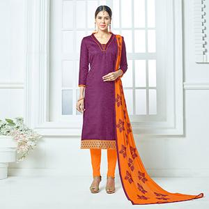 Purple-Orange Colored Embroidered Jacquard Dress Material