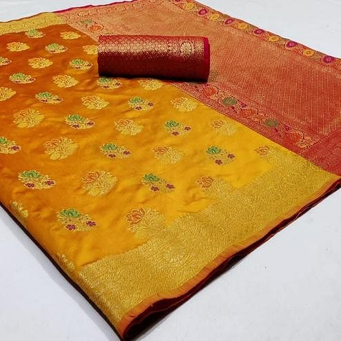 Prominent Yellow Colored Festive Wear Woven Silk Saree