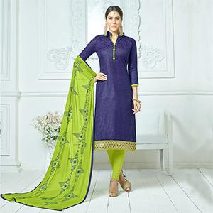 Navy Blue-Green Colored Embroidered Jacquard Dress Material