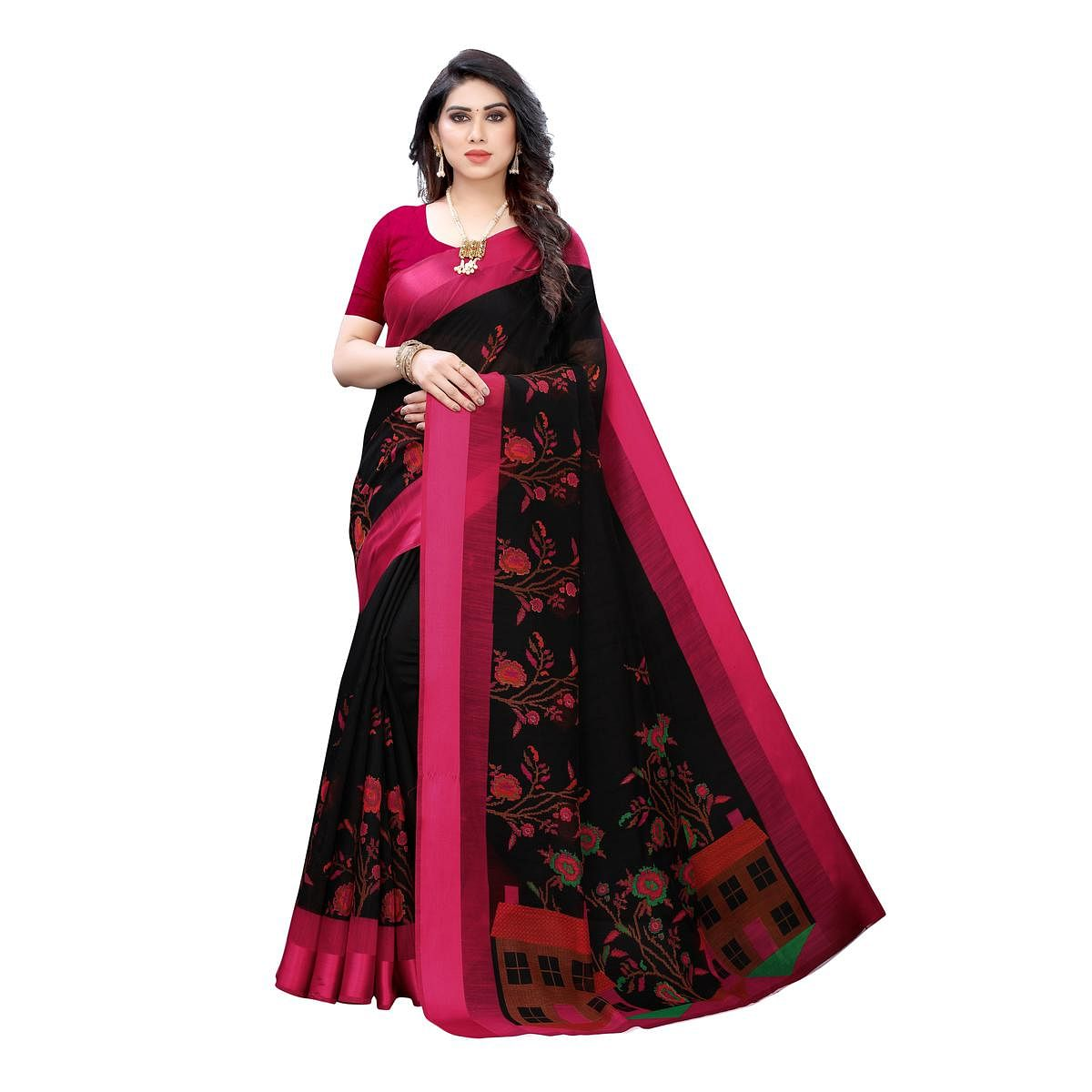 Adorable Black Colored Casual Wear Floral Printed Linen Saree