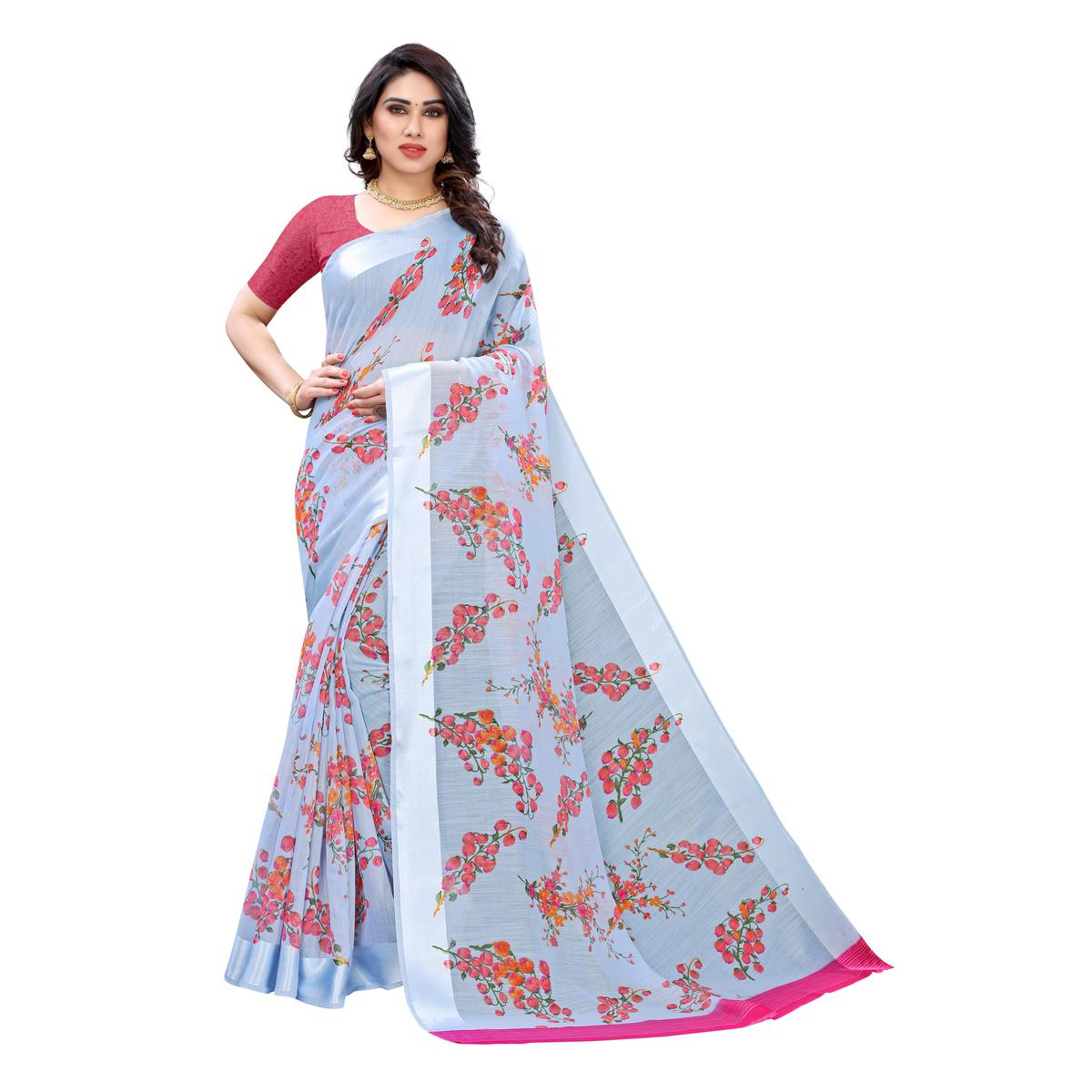 Blooming Light Blue Colored Casual Wear Floral Printed Linen Saree