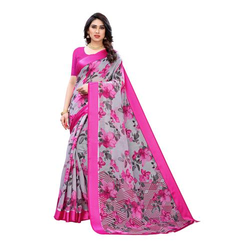 Charming Grey-Pink Colored Casual Wear Floral Printed Linen Saree