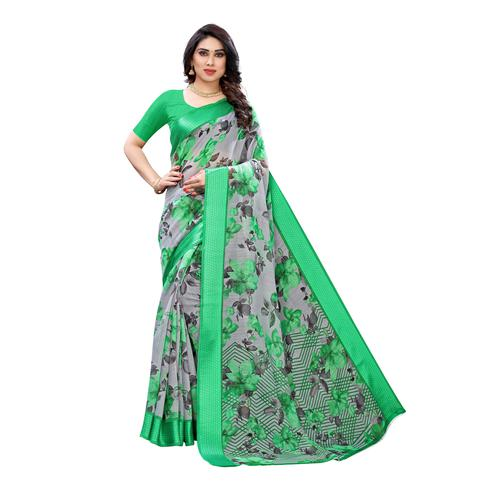 Jazzy Grey-Green Colored Casual Wear Floral Printed Linen Saree