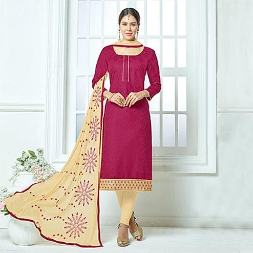 Dark Pink-Beige Colored Embroidered Jacquard Dress Material