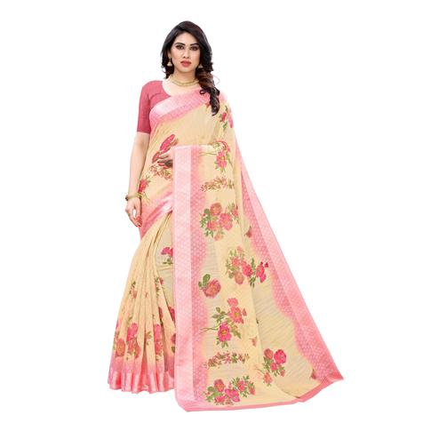 Captivating Light Orange Colored Casual Wear Floral Printed Linen Saree