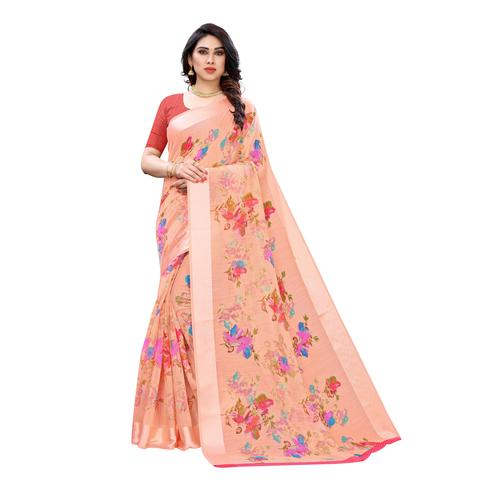 Eye-catching Peach Colored Casual Wear Floral Printed Linen Saree