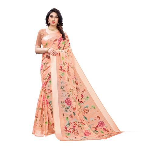 Gorgeous Orange Colored Casual Wear Floral Printed Linen Saree