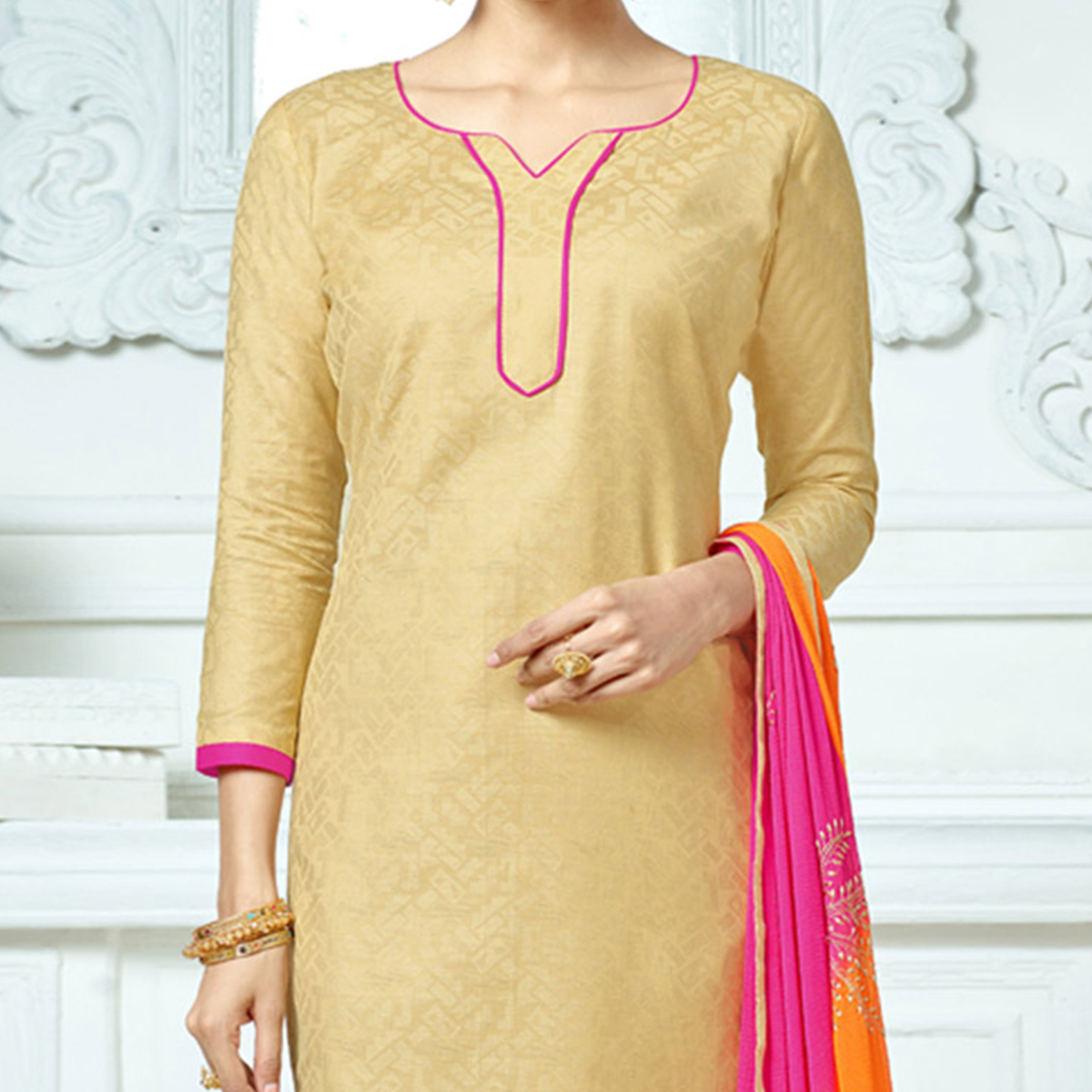 Beige-Pink Colored Embroidered Jacquard Dress Material