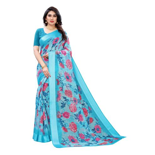 Lovely Blue Colored Casual Wear Floral Printed Linen Saree