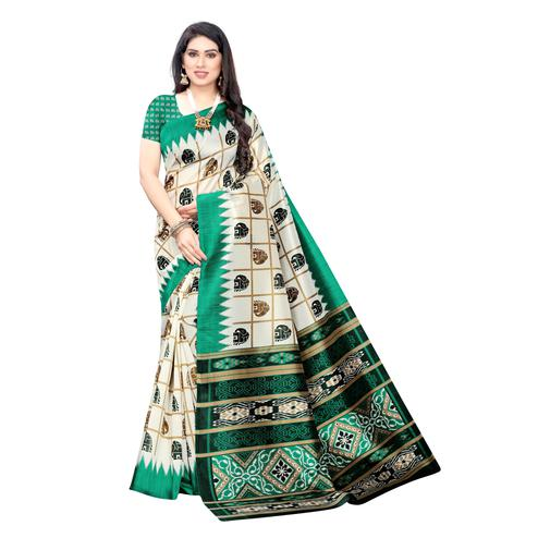 Impressive White-Green Colored Casual Wear Elephant Printed Art Silk Saree