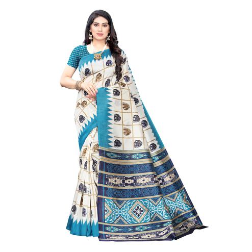 Mesmerising White-Turquoise Colored Casual Wear Elephant Printed Art Silk Saree