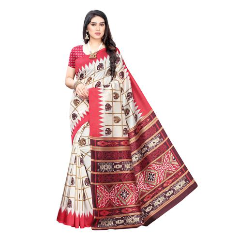 Pleasance White-Red Colored Casual Wear Elephant Printed Art Silk Saree