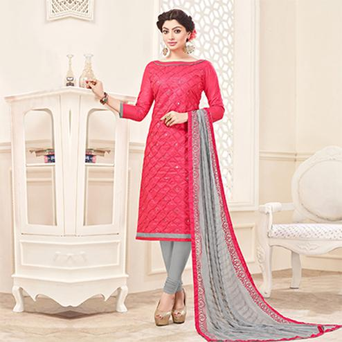Red-Gray Designer Embroidered Cotton Dress Material