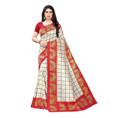 Dazzling White-Red Colored Festive Wear Peacock Printed Art Silk Saree