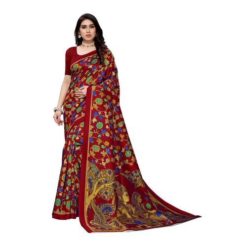 Arresting Red Colored Casual Wear Floral Printed Art Silk Saree