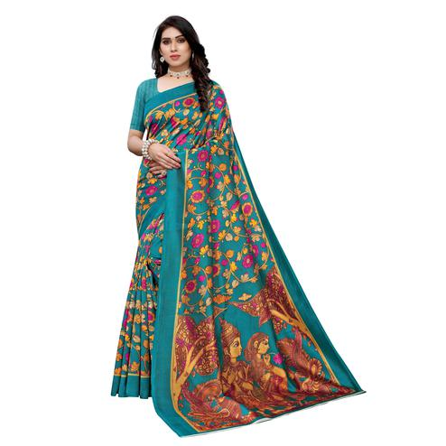 Desirable Turquoise Colored Casual Wear Floral Printed Art Silk Saree