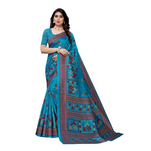 Sophisticated Turquoise Colored Casual Wear Peacock Printed Art Silk Saree
