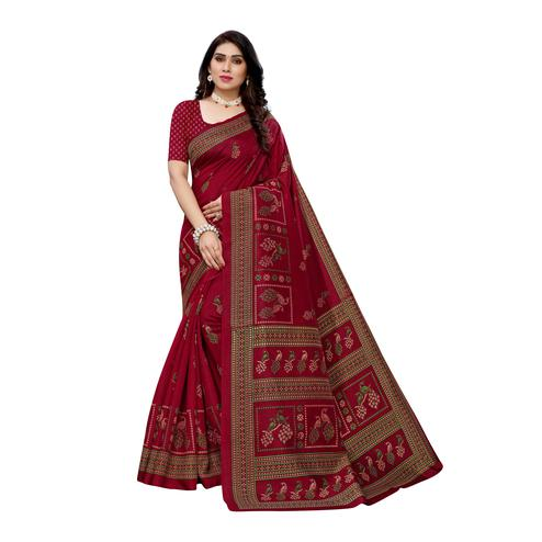 Trendy Red Colored Casual Wear Peacock Printed Art Silk Saree