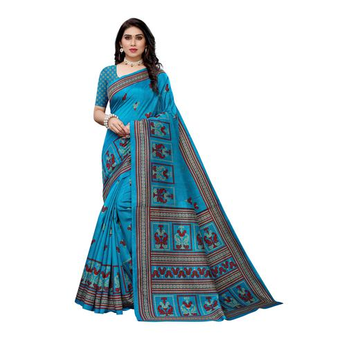 Pleasant Turquoise Colored Casual Wear Printed Art Silk Saree