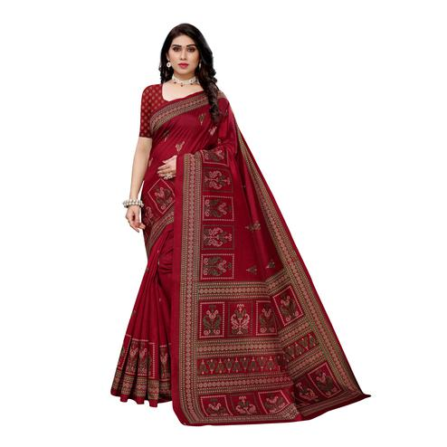 Opulent Red Colored Casual Wear Printed Art Silk Saree