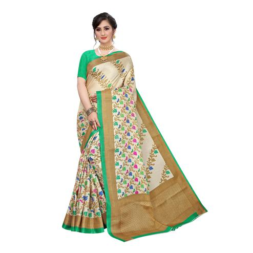 Demanding Beige-Green Colored Casual Wear Floral Printed Cotton Silk Saree
